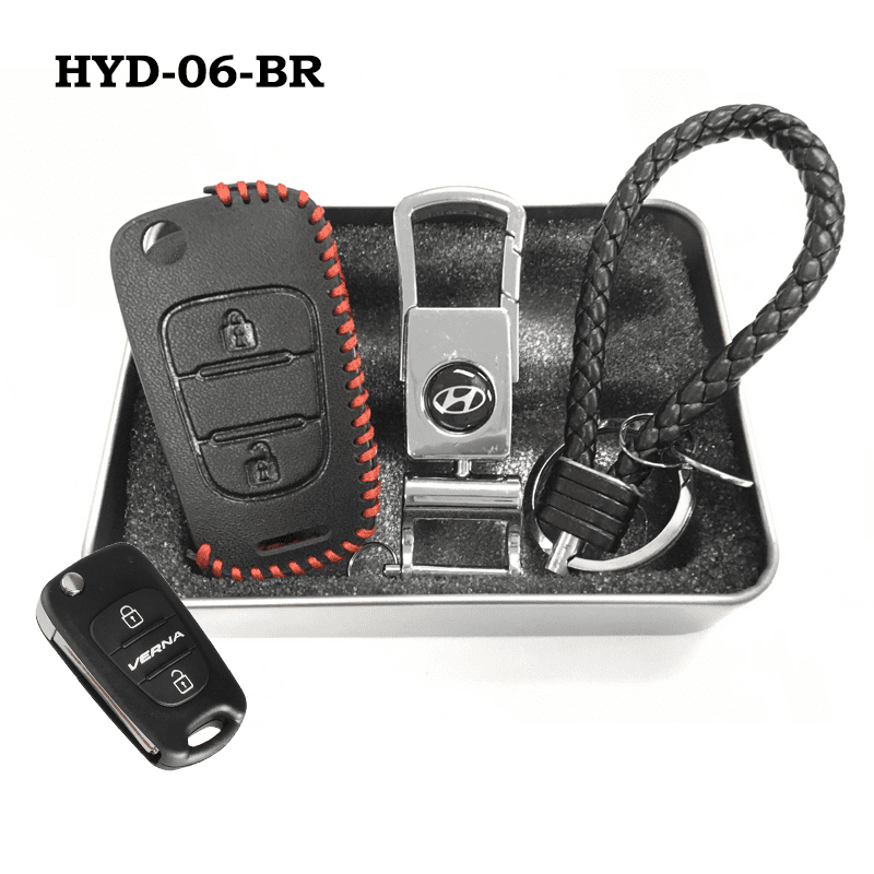 Genuine Leather Key Cover HYD-06-BR Hyundai Flip Key Genuine Leather Key Cover