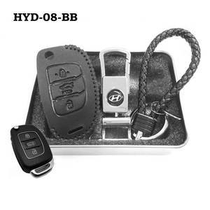 Genuine Leather Key Cover HYD-08-BB Hyundai Flip Key Genuine Leather Key Cover