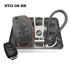 Genuine Leather Key Cover HYD-08-BR Hyundai Flip Key Genuine Leather Key Cover