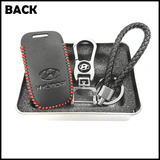 Genuine Leather Key Cover 01 BLACK Hyundai Smart Key Genuine Leather Key Cover