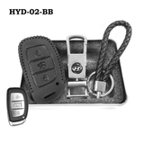 Genuine Leather Key Cover HYD-02-BB Hyundai Smart Key Genuine Leather Key Cover