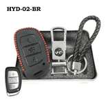 Genuine Leather Key Cover HYD-02-BR Hyundai Smart Key Genuine Leather Key Cover