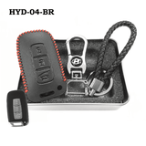 Genuine Leather Key Cover HYD-04-BR Hyundai Smart Key Genuine Leather Key Cover