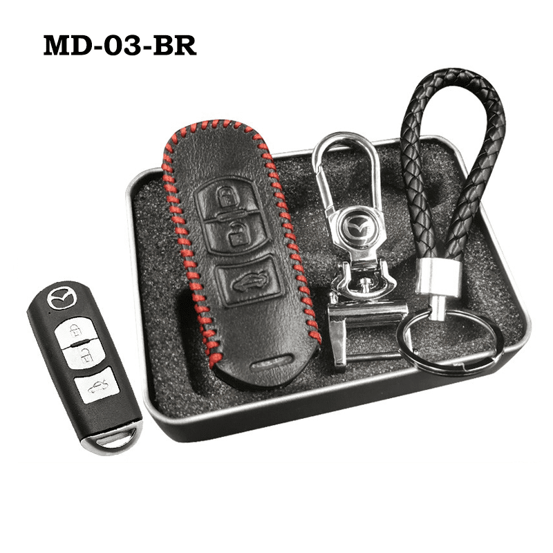 Genuine Leather Key Cover MD-03-BR Mazda Genuine Leather Key Cover