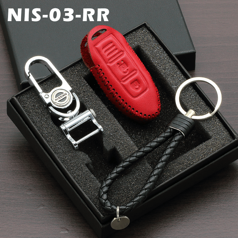 Genuine Leather Key Cover 03 RED Nissan Smart Key Genuine Leather Key Cover