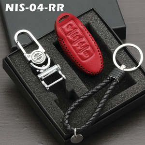 Genuine Leather Key Cover 04 RED Nissan Smart Key Genuine Leather Key Cover