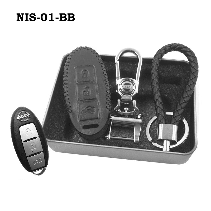 Genuine Leather Key Cover NIS-01-BB Nissan Smart Key Genuine Leather Key Cover