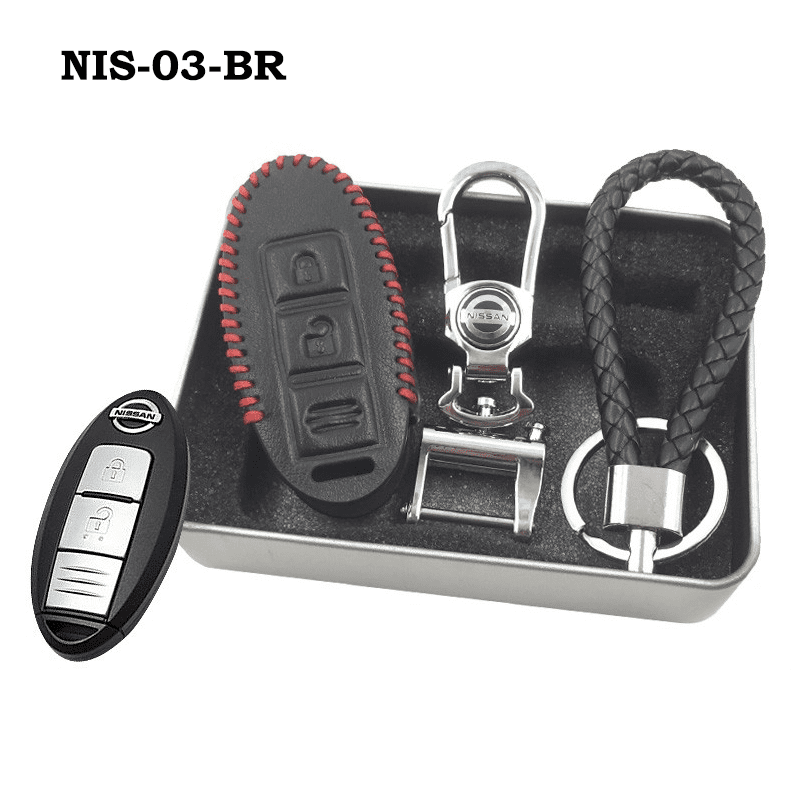 Genuine Leather Key Cover NIS-03-BR Nissan Smart Key Genuine Leather Key Cover