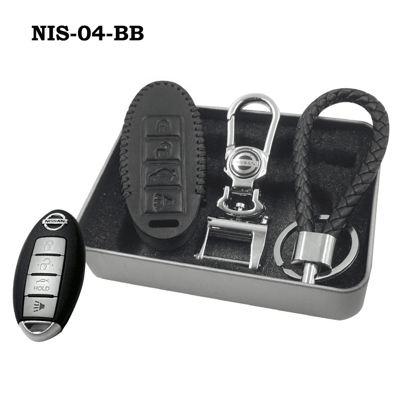 Genuine Leather Key Cover NIS-04-BB Nissan Smart Key Genuine Leather Key Cover