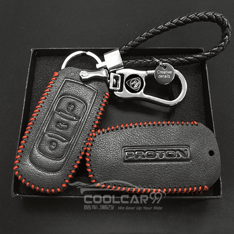 Genuine Leather Key Cover Black Lining Proton Smart Key Genuine Leather Key Cover Fit for Proton X70