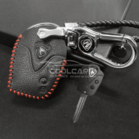 Genuine Leather Key Cover Red Lining Proton Straight Key Genuine Leather Key Cover Fit for Proton Saga
