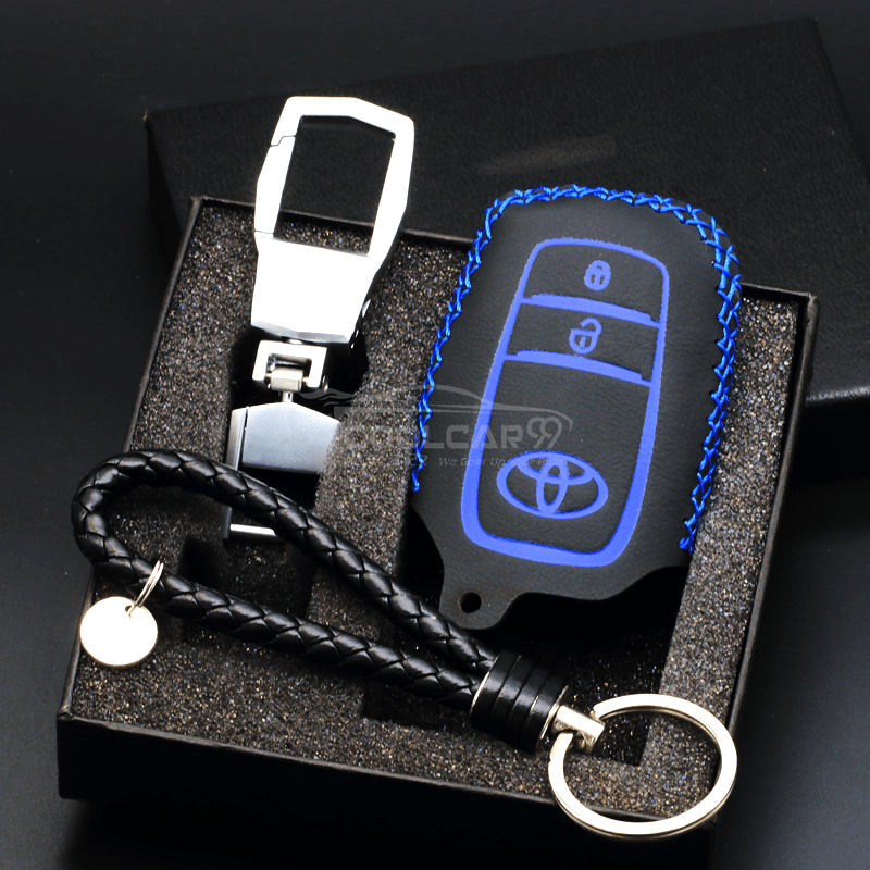 Genuine Leather Key Cover BLUE Toyota Genuine Leather Car Key Cover