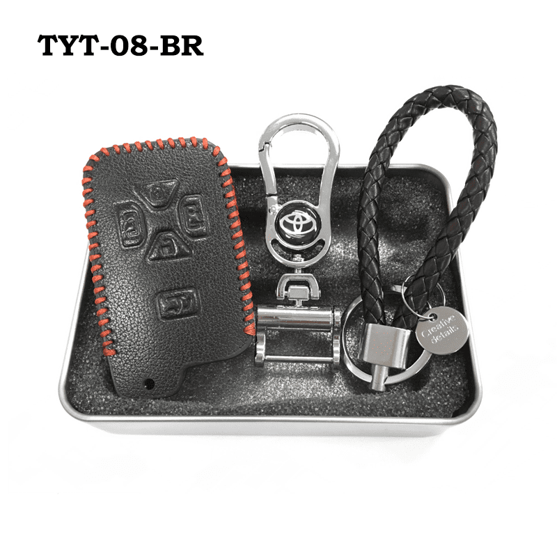 Genuine Leather Key Cover TYT-08-BR Toyota Smart Key Genuine Leather Key Cover Fit for Estima / Alphard / Vellfire