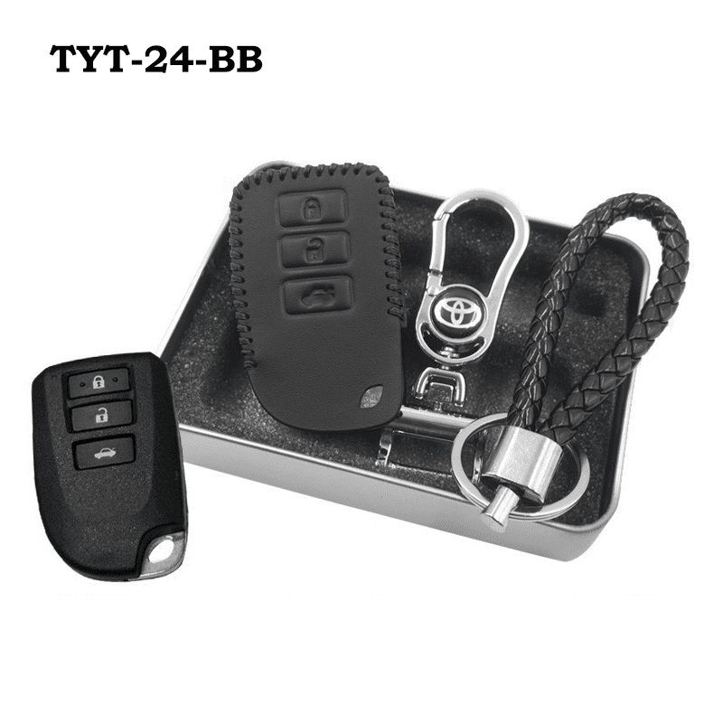 Genuine Leather Key Cover TYT-24-BB Toyota Vios Genuine Leather Key Cover