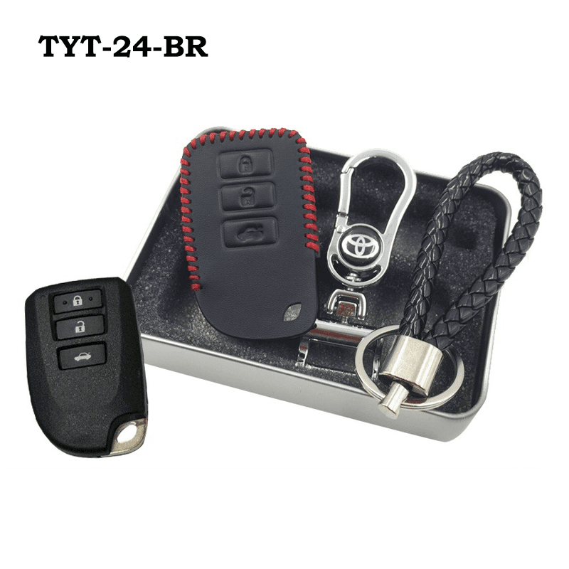 Genuine Leather Key Cover TYT-24-BR Toyota Vios Genuine Leather Key Cover