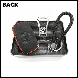 Genuine Leather Key Cover 01 BLACK Volkswagen Genuine Leather Key Cover Fit For Golf, Polo, Tiguan, Vento, Jetta, Magotan