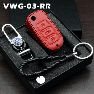 Genuine Leather Key Cover 03 RED Volkswagen Genuine Leather Key Cover Fit For Golf, Polo, Tiguan, Vento, Jetta, Magotan