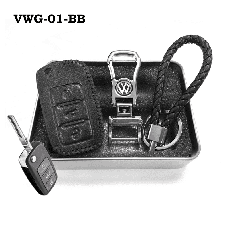 Genuine Leather Key Cover VWG-01-BB Volkswagen Genuine Leather Key Cover Fit For Golf, Polo, Tiguan, Vento, Jetta, Magotan