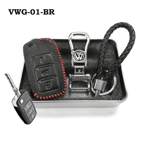 Genuine Leather Key Cover VWG-01-BR Volkswagen Genuine Leather Key Cover Fit For Golf, Polo, Tiguan, Vento, Jetta, Magotan