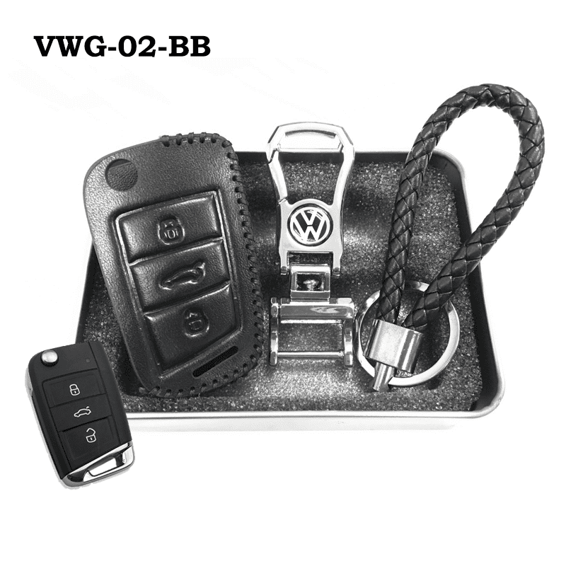 Genuine Leather Key Cover VWG-02-BB Volkswagen Genuine Leather Key Cover Fit For Golf, Polo, Tiguan, Vento, Jetta, Magotan