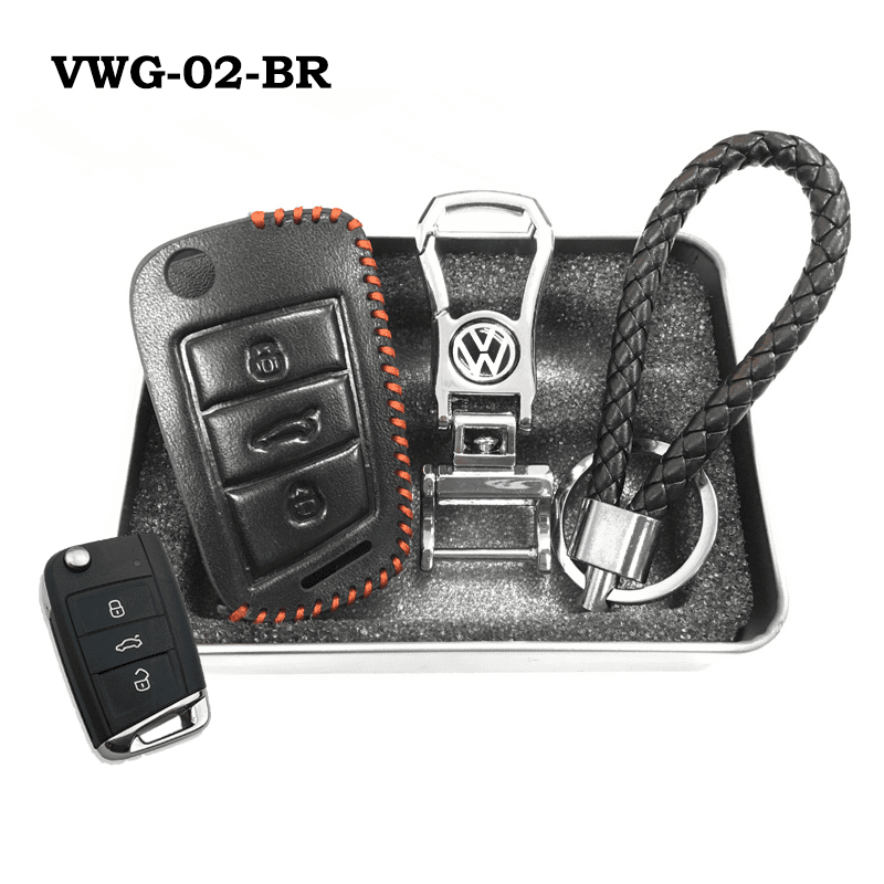 Genuine Leather Key Cover VWG-02-BR Volkswagen Genuine Leather Key Cover Fit For Golf, Polo, Tiguan, Vento, Jetta, Magotan