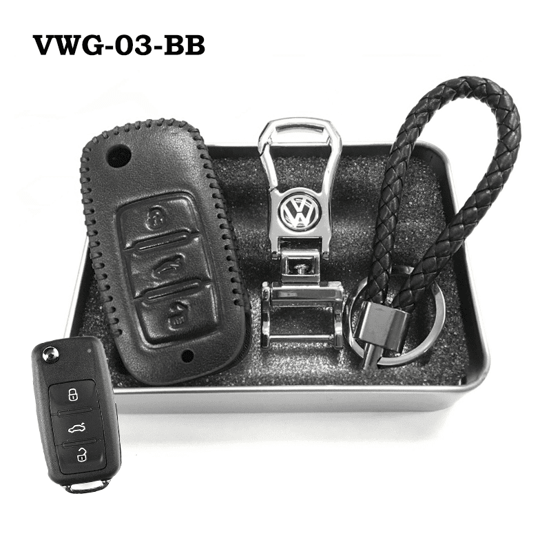 Genuine Leather Key Cover VWG-03-BB Volkswagen Genuine Leather Key Cover Fit For Golf, Polo, Tiguan, Vento, Jetta, Magotan
