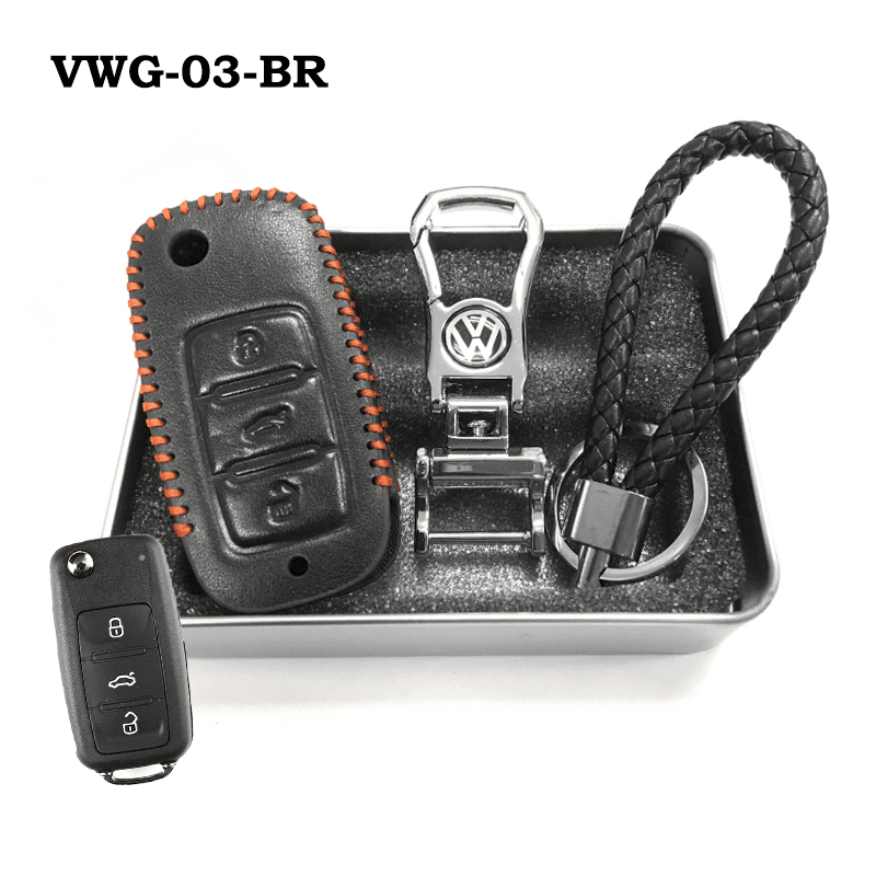 Genuine Leather Key Cover VWG-03-BR Volkswagen Genuine Leather Key Cover Fit For Golf, Polo, Tiguan, Vento, Jetta, Magotan