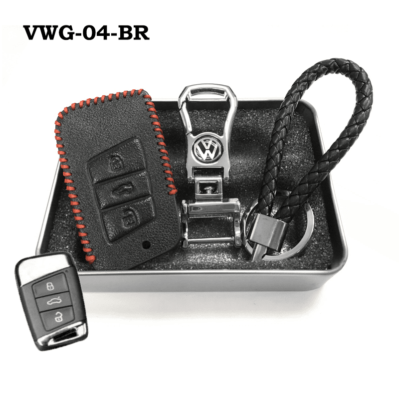 Genuine Leather Key Cover VWG-04-BR Volkswagen Genuine Leather Key Cover Fit For Golf, Polo, Tiguan, Vento, Jetta, Magotan