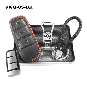 Genuine Leather Key Cover VWG-05-BR Volkswagen Genuine Leather Key Cover Fit For Golf, Polo, Tiguan, Vento, Jetta, Magotan