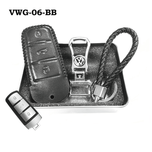 Genuine Leather Key Cover VWG-06-BB Volkswagen Genuine Leather Key Cover Fit For Golf, Polo, Tiguan, Vento, Jetta, Magotan