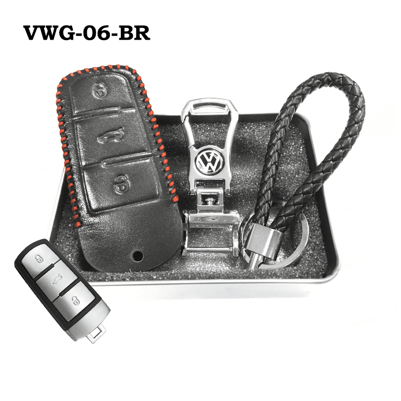 Genuine Leather Key Cover VWG-06-BR Volkswagen Genuine Leather Key Cover Fit For Golf, Polo, Tiguan, Vento, Jetta, Magotan