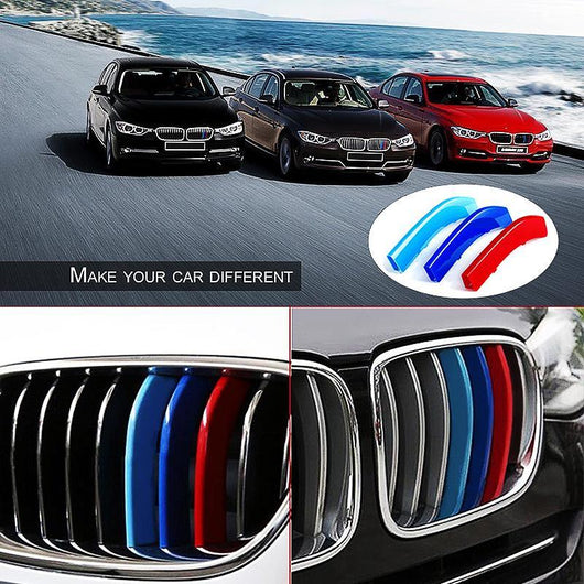 Bmw 3 Series Car Kidney Grille Stripes Covers Front Grill Clips Decoration