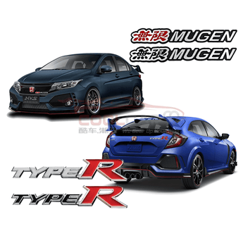 Type-R Black Honda Civic City Type R Mugen 3D Car Badge Emblem Logo