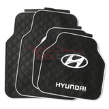 White HYUNDAI Car Carpet Latex Floor Mats Foot Mats 5Pcs