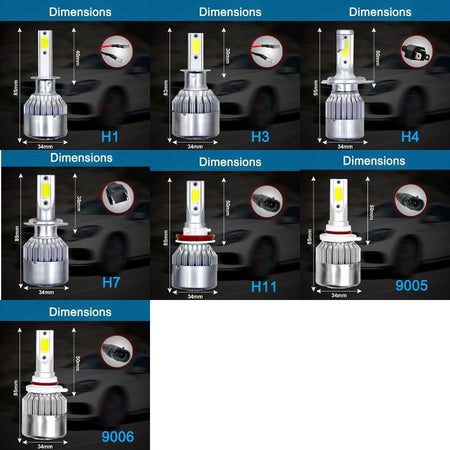 LED H11 2PCS C6 LED Headlight H1 H3 H4 H7 H11 9005 9006 Car Headlight LED Bulb