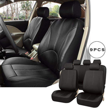 Luxury PU Leather Auto Seat Cover Universal Car Front Seat Back Car Seat 9 PCs Per Set