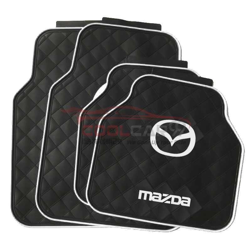 White MAZDA Car Carpet Latex Floor Mats Foot Mats 5Pcs