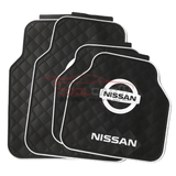 White NISSAN Car Carpet Latex Floor Mats Foot Mats 5Pcs