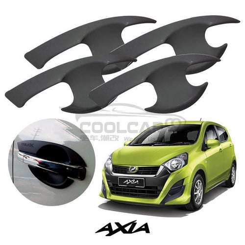 Perodua Axia Door Handle Inner Bowl Protector Cover Trim Matte Black (4pcs/set)