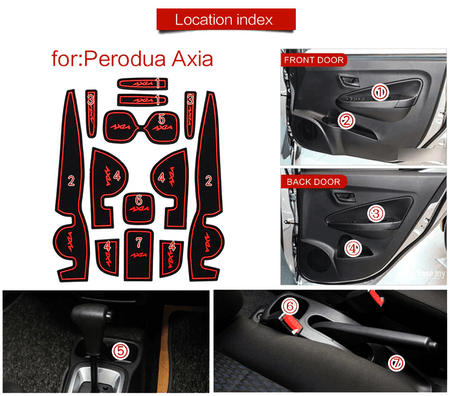 Red PERODUA Axia Interior Slot Mat