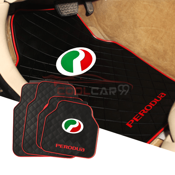 Red PERODUA Car Carpet Latex Floor Mats Foot Mats 5Pcs