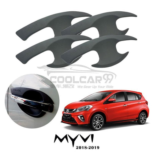 Perodua Myvi 2018 Door Handle Inner Bowl Protector Cover Trim Matte Black (4pcs/set)