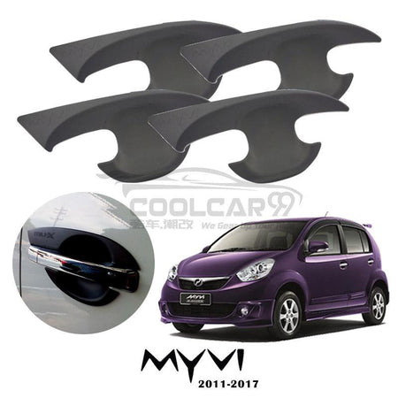 Perodua Myvi Lagi Best 2011-2017 Door Handle Inner Bowl Protector Cover Trim Matte Black (4pcs/set)