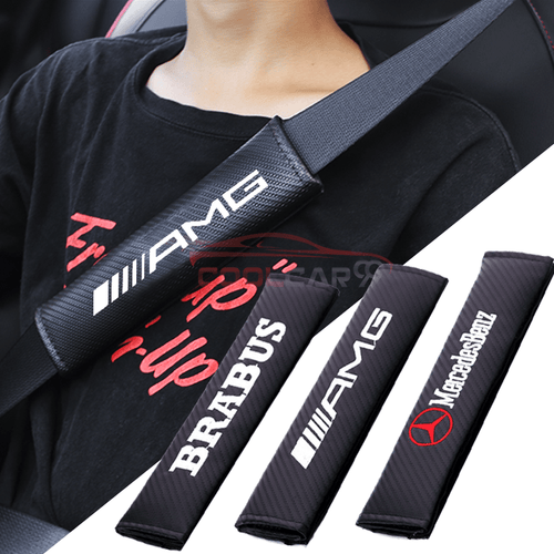 Seat Belt Cover BENZ 2pcs MERCEDES BENZ AMG BRABUS Carbon Fiber Car Seat Belt Cover Case Shoulder Pad