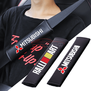 Seat Belt Cover MAZDA 2pcs MITSUBISHI RALLIART Carbon Fiber Car Seat Belt Cover Case Shoulder Pad