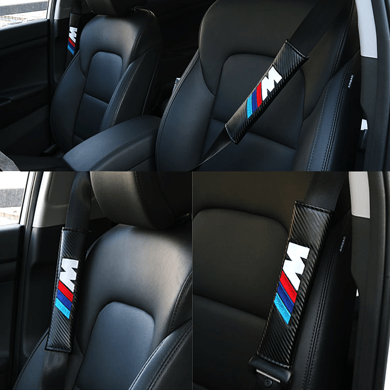 Seat Belt Cover MITSUBISHI 2pcs MITSUBISHI RALLIART Carbon Fiber Car Seat Belt Cover Case Shoulder Pad