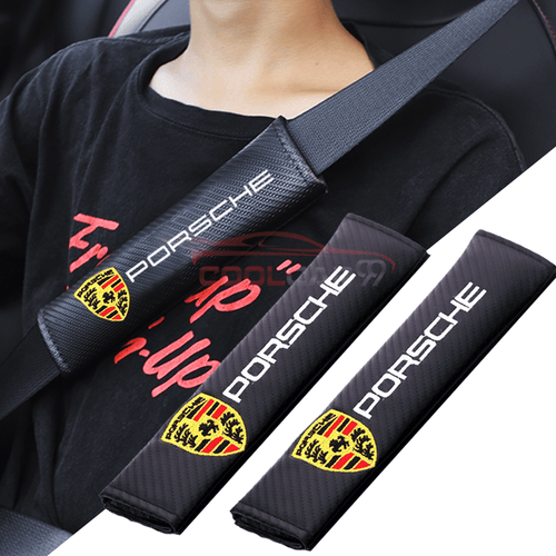 Seat Belt Cover PORSCHE 2pcs PORSCHE Carbon Fiber Car Seat Belt Cover Case Shoulder Pad