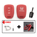 Silicone Key Cover Red Combo Honda City 2014-2017 Silicone Key Case Cover