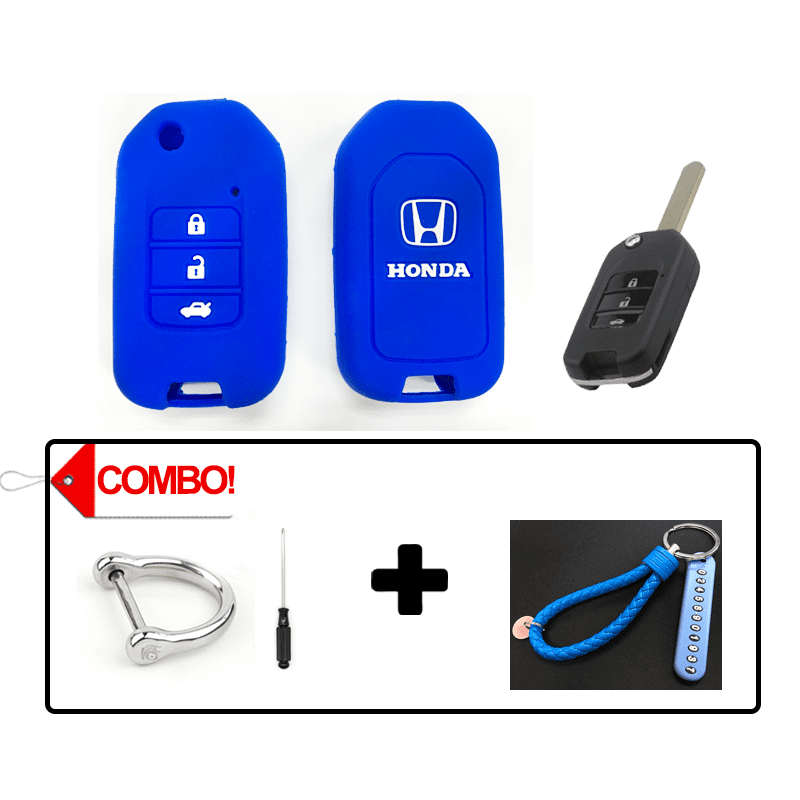 Silicone Key Cover Blue Combo Honda City / Civic / Fit Silicone Key Case Cover