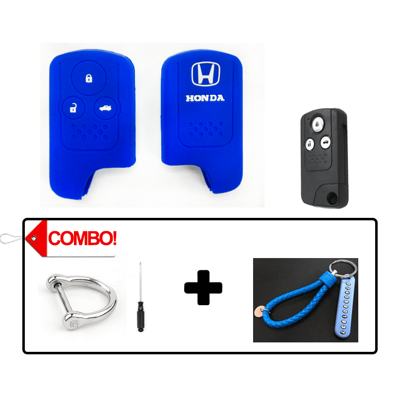 Silicone Key Cover Blue Combo Honda Civic FB 2011-2015 Silicone Key Case Cover
